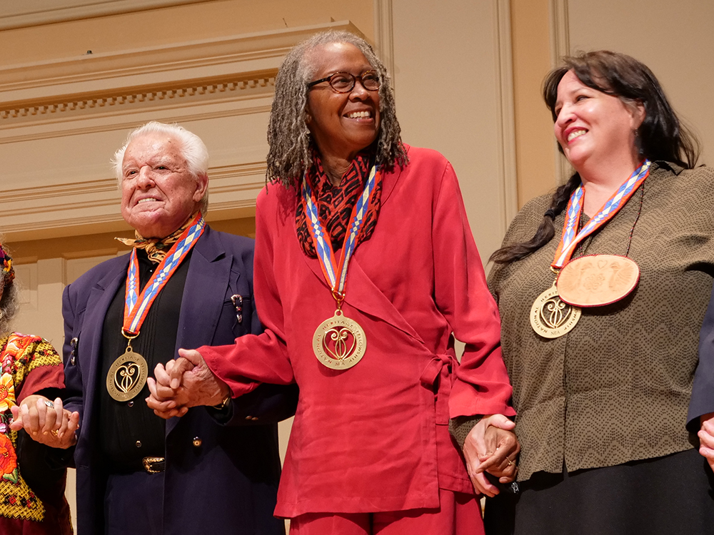 Marion Coleman (center) at the National Heritage Fellowship award ceremony in Washington D.C., September 2018.